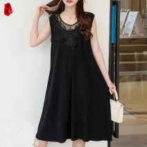 Middle aged and old women's wear Summer 2021 2XL,3XL,4XL,5XL fashion Dress Self cultivation singleton  Solid color 40-49 years old Socket moderate Medium length routine belt 96% and above Middle-skirt Pleated skirt
