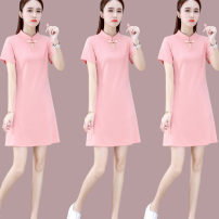 Women's large Summer 2021 Pink Black Red M L XL Dress singleton  commute Straight cylinder Short sleeve Korean version Medium length routine 16160-1LY55 First reading 18-24 years old 91% (inclusive) - 95% (inclusive) Medium length Cotton 91.2% polyurethane elastic fiber (spandex) 8.8%