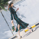 Dress Spring 2021 XS S M L XL longuette singleton  Long sleeves commute V-neck High waist Decor zipper Ruffle Skirt routine Others 25-29 years old Type X Birthday Korean version More than 95% Chiffon polyester fiber Polyester 100% Pure e-commerce (online only)