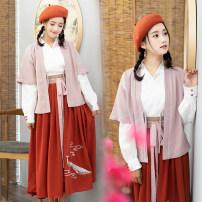 Hanfu 31% (inclusive) - 50% (inclusive) Autumn of 2018 White jacket + skirt 108 yuan, coat + jacket + skirt 169 yuan, three piece suit + Hat 188 yuan, kumquat post 29 yuan, only white jacket 39 yuan, only pink jacket 49 yuan, only skirt 68 yuan S,M,L cotton