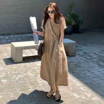 Dress Summer 2020 Khaki black S M L XL longuette singleton  Short sleeve commute other High waist Solid color other other routine 25-29 years old Choeanlhel / Chongxi Korean version More than 95% brocade other Other 100%