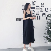 Dress Summer 2021 black M L XL Miniskirt singleton  Sleeveless commute One word collar middle-waisted Solid color Socket Princess Dress other camisole 18-24 years old Type H Beautiful flower Korean version Splicing 51% (inclusive) - 70% (inclusive) polyester fiber Pure e-commerce (online only)