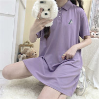 Dress Summer 2021 Purple green M L XL Miniskirt singleton  Short sleeve Sweet Polo collar Loose waist Solid color Socket Princess Dress other Others 18-24 years old Type H Beautiful flower Embroidery 51% (inclusive) - 70% (inclusive) polyester fiber princess Pure e-commerce (online only)
