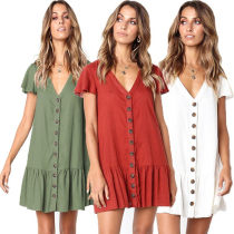Dress Summer of 2018 White red blue army green S M L XL Short skirt singleton  Short sleeve street Crew neck Loose waist Solid color Single breasted Others 81% (inclusive) - 90% (inclusive) brocade cotton Europe and America