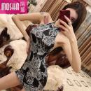 Dress Summer of 2019 black S M L Short skirt singleton  Sleeveless commute Crew neck High waist Solid color zipper Pencil skirt other Others 18-24 years old Type H Moby shark lady Open back stitching MS30195# More than 95% other polyester fiber Other polyester 95% 5% Pure e-commerce (online only)