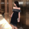 Dress Summer 2020 black S M L Short skirt singleton  Sleeveless commute One word collar High waist Solid color Socket Ruffle Skirt other Others 18-24 years old Moby shark Korean version More than 95% brocade polyester fiber Other polyester 95% 5% Pure e-commerce (online only)