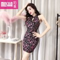 Dress Spring of 2019 Silver Gold Purple Blue Average size Short skirt singleton  Sleeveless commute V-neck High waist Solid color zipper Pencil skirt other Others 18-24 years old Type H Moby shark lady Open back stitching MS38632# More than 95% other polyester fiber Other polyester 95% 5%