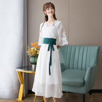 Dress Summer 2021 White light blue M L XL XXL Mid length dress singleton  three quarter sleeve commute V-neck middle-waisted Solid color Socket A-line skirt routine Others 25-29 years old Type X Yueting Retro Lace up zipper with embroidered Auricularia auricula YDE4180 More than 95% other other
