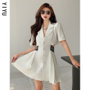 Dress Summer 2021 White black S M L Short skirt singleton  Short sleeve commute tailored collar High waist Solid color Single breasted A-line skirt routine Others 18-24 years old Type A Yiyu Korean version YY5925 More than 95% other Other 100% Pure e-commerce (online only)