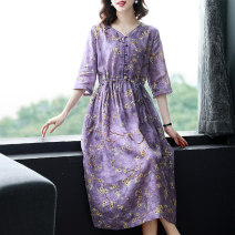 Dress Summer 2021 violet M L XL 2XL 3XL Mid length dress singleton  elbow sleeve commute V-neck middle-waisted Broken flowers Socket A-line skirt routine Others 35-39 years old Type A Bai Meiwei Retro printing BMW68380331 More than 95% other Other 100% Pure e-commerce (online only)