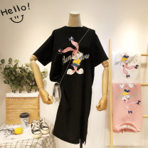 T-shirt White black pink yellow M L XL 2XL Summer 2020 Short sleeve Crew neck easy Medium length routine commute polyester fiber 51% (inclusive) - 70% (inclusive) 18-24 years old Korean version originality Cartoon animation You know the flower XJ1599# printing Pure e-commerce (online only)