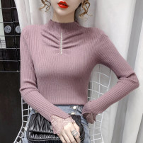 Wool knitwear Winter 2020 S M L XL Purple white black apricot Long sleeves singleton  Socket other More than 95% Regular routine commute Self cultivation Half height crew neck other Solid color Socket Korean version 608# 18-24 years old Yingxuelan Pleated lace Other 100% Pure e-commerce (online only)
