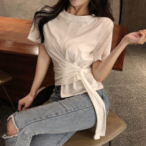 shirt White black S M L Summer 2020 other 96% and above Short sleeve commute Regular Crew neck routine stripe 18-24 years old Self cultivation Yingxuelan Korean version Pleated bandage Other 100% Pure e-commerce (online only)