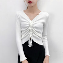 Wool knitwear Autumn of 2018 S M L XL Blue white black Lavender Long sleeves singleton  Socket other More than 95% have cash less than that is registered in the accounts routine commute Self cultivation V-neck routine Solid color Socket Korean version 18-24 years old Yingxuelan Other 100%