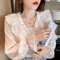 T-shirt Orange white S M L XL Autumn 2020 Long sleeves V-neck Super short pagoda sleeve commute other 96% and above 25-29 years old Korean version Love of Shu Mei PYVI78885 Other 100%