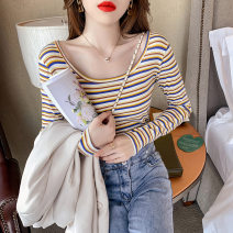T-shirt Blue stripe Pink Stripe white stripe S M L XL Spring 2021 Long sleeves Crew neck Self cultivation have cash less than that is registered in the accounts routine commute other 96% and above Korean version youth Thin horizontal stripe Love of Shu Mei gsPa01716 Other 100%