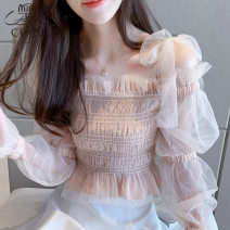 Lace / Chiffon Spring 2021 Pink S M L XL 2XL Long sleeves commute Self cultivation have cash less than that is registered in the accounts One word collar Solid color bishop sleeve 25-29 years old Love of Shu Mei Iqyx08820 Korean version 96% and above Other 100% Pure e-commerce (online only)