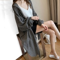 T-shirt White lattice black lattice blue lattice S M L XL 2XL Summer 2020 Long sleeves Hood easy Medium length routine commute other 96% and above 18-24 years old Korean version lattice Love of Shu Mei ZCCM34295 Other 100% Pure e-commerce (online only)