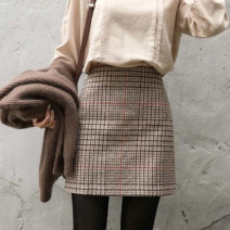 skirt Autumn of 2018 XS S M L XL Picture color Short skirt Versatile High waist A-line skirt lattice Type A 25-29 years old More than 95% Wool Love of Shu Mei other Other 100%