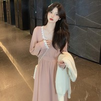 Dress Spring 2021 Graphic skirt S M L XL 2XL Mid length dress singleton  Long sleeves commute square neck High waist Solid color Socket A-line skirt routine Others 18-24 years old Love of Shu Mei Korean version CMuT44158 More than 95% other other Other 100% Pure e-commerce (online only)