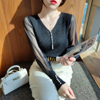 T-shirt White black S M L Spring 2021 Long sleeves Self cultivation Regular routine commute other 96% and above 25-29 years old Korean version Solid color Love of Shu Mei Other 100%
