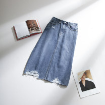 skirt Spring 2021 S,M,L,XL blue Mid length dress commute High waist Solid color 25-29 years old Zero rules