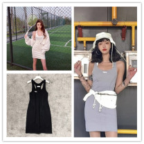 Dress Summer 2020 White, silver, black One, two Mid length dress singleton  Sleeveless 18-24 years old