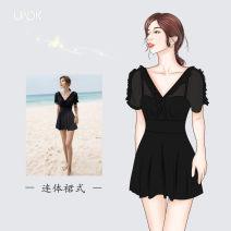 one piece  uadk M,L,XL,XXL,XXXL Black, white Skirt one piece Steel strap breast pad female Middle sleeve Casual swimsuit