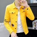 Jacket Type Shang set Youth fashion 165/M 170/L 175/XL 180/XXL 185/3XL routine Self cultivation Other leisure summer Cotton 98.5% polyurethane elastic fiber (spandex) 1.5% Long sleeves Wear out Lapel tide youth routine Single breasted Cloth hem No iron treatment Loose cuff Solid color Denim cotton