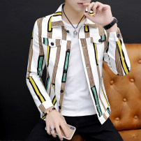 Jacket Type Shang set Youth fashion Black and white 160/S 165/M 170/L 175/XL 180/XXL routine Self cultivation Other leisure autumn XSJJK97996251 Cotton 98.5% polyurethane elastic fiber (spandex) 1.5% Long sleeves Wear out Lapel tide teenagers Single breasted Cloth hem Loose cuff stripe Seldingham