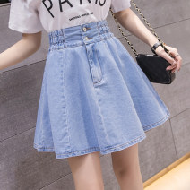 skirt Summer 2020 Short skirt Fluffy skirt commute High waist lattice More than 95% other 25-29 years old 7880* Pleated button zipper Biziyao Korean version Other 100.00% Pure e-commerce (online sales only) S M L XL 2XL Light blue dark blue