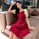 Dress Summer 2020 Red and black XXL S M L XL Mid length dress singleton  Short sleeve commute square neck Elastic waist Solid color Single breasted Pleated skirt pagoda sleeve Others 25-29 years old Biziyao Korean version Pleated stitching More than 95% other Other 100.00%