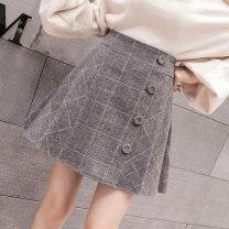 skirt Winter 2020 S M L XL Black grey Short skirt commute High waist Irregular lattice 25-29 years old 6181-* More than 95% Biziyao other Button thread decoration Korean version Other 100.00% Pure e-commerce (online only)