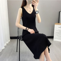 Dress Summer 2020 S M L XL Mid length dress singleton  Sleeveless commute V-neck Solid color other A-line skirt other camisole 25-29 years old Type A Korean version More than 95% knitting other Other 100% Pure e-commerce (online only)