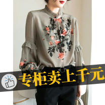 Middle aged and old women's wear Spring 2021 Picture color street Straight cylinder stand collar routine bishop sleeve Button other 91% (inclusive) - 95% (inclusive)