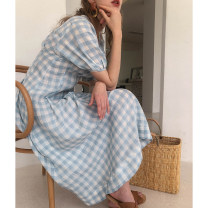 Dress Summer of 2019 Blue and white S,XS,M longuette singleton  Short sleeve commute Crew neck lattice Socket A-line skirt puff sleeve Others 25-29 years old Dailyart daily Retro 92L082 More than 95% brocade hemp