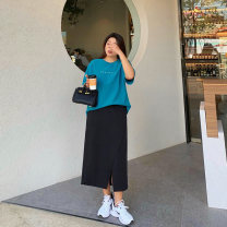 Women's large Spring 2021 Black, ginger Large XL, 2XL, 3XL, 4XL skirt singleton  commute Straight cylinder moderate Solid color Korean version polyester Custom made small cabbage 18-24 years old pocket 96% and above Medium length other