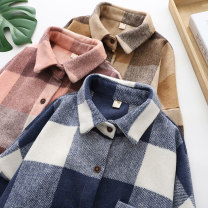 shirt Pink, coffee, blue S M L XL Winter 2020 other 96% and above Long sleeves commute Regular Polo collar Single row multi button routine lattice 18-24 years old Straight cylinder Retro Button Other 100% Pure e-commerce (online only)