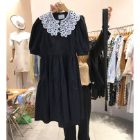Dress Fold splicing Cotton 95% other 5% Summer 2021 Pure e-commerce (online sales only) Medium length skirt commute Short sleeve singleton  Crew neck Solid color High waist 25-29 years old More than 95% A-line skirt Condom puff sleeve cotton Type A F89869 Smzy / Aestheticism Korean version Other