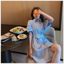 Dress Summer 2021 White, blue, orange S,M,L,XL Mid length dress singleton  elbow sleeve Polo collar Loose waist Solid color Single breasted A-line skirt routine Others 25-29 years old Type H other 51% (inclusive) - 70% (inclusive) other polyester fiber