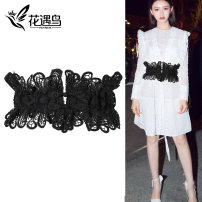 Belt / belt / chain cloth Black, white female Waistband Versatile Single loop Youth, youth, middle age a hook Flower design soft surface 15cm Bare, hollow, lace, elastic, flower