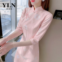 Dress Spring 2021 Picture color S M L XL Mid length dress singleton  three quarter sleeve commute stand collar High waist other Socket A-line skirt routine Others 25-29 years old Type A Yunlianni Korean version Pleated print YLN68454658 More than 95% other Other 100%