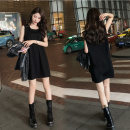 Dress Spring 2021 black S M L XL XXL XXXL longuette singleton  Sleeveless commute Crew neck Loose waist Solid color Socket A-line skirt routine 18-24 years old Type A WONJOY Splicing More than 95% other Other 100%