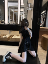Dress Summer 2020 black S,M,L Short skirt 18-24 years old cotton