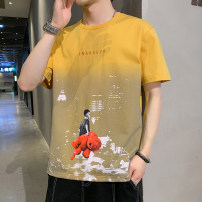 T-shirt Youth fashion thick M L XL 2XL 3XL 4XL Cabano Short sleeve Crew neck easy Other leisure summer Cotton 73.4% polyester 26.6% teenagers Off shoulder sleeve tide other Summer 2021 Cartoon animation printing cotton Creative interest No iron treatment Fashion brand Pure e-commerce (online only)