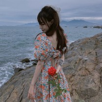 Women's large Summer 2021 Floral Dress S M L XL singleton  commute Self cultivation moderate Socket Short sleeve Broken flowers Korean version square neck Three dimensional cutting puff sleeve Cute girl 18-24 years old 31% (inclusive) - 50% (inclusive) Medium length Other 100%