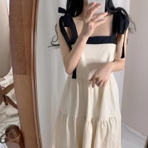 Women's large Summer 2021 White dress S M L XL singleton  commute easy moderate Socket Sleeveless Solid color Korean version square neck Three dimensional cutting other Cute girl 18-24 years old 31% (inclusive) - 50% (inclusive) longuette Other 100% Pure e-commerce (online only) Cake skirt