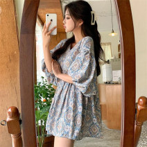 Women's large Summer 2021 Light blue dark blue S M L XL singleton  commute easy moderate Socket Long sleeves Decor Korean version V-neck Medium length polyester fiber Three dimensional cutting routine Cute girl 18-24 years old 31% (inclusive) - 50% (inclusive) longuette Other 100% Ruffle Skirt