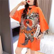 Dress See brand for details Short sleeve summer stand collar Cartoon animation Space cotton G4869 Chinese Mainland M,L,XL