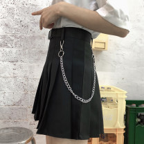 skirt Summer 2020 S M L XL Black [belt + Chain] white [belt + Chain] Short skirt commute High waist Pleated skirt Solid color Type A 18-24 years old More than 95% Mengyingchun polyester fiber Korean version Polyester 100% Pure e-commerce (online only)